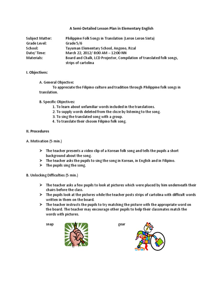 lesson plan philippine folk songs in translation lesson plan