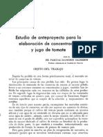 Estudio de anteproyecto para la elaboración de concentrados y jugo de tomate