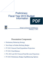 Microsoft Power Point - Prelim FY 2013 Budget Information