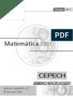 Ensayo Matematica Cepech Nº 1 2007