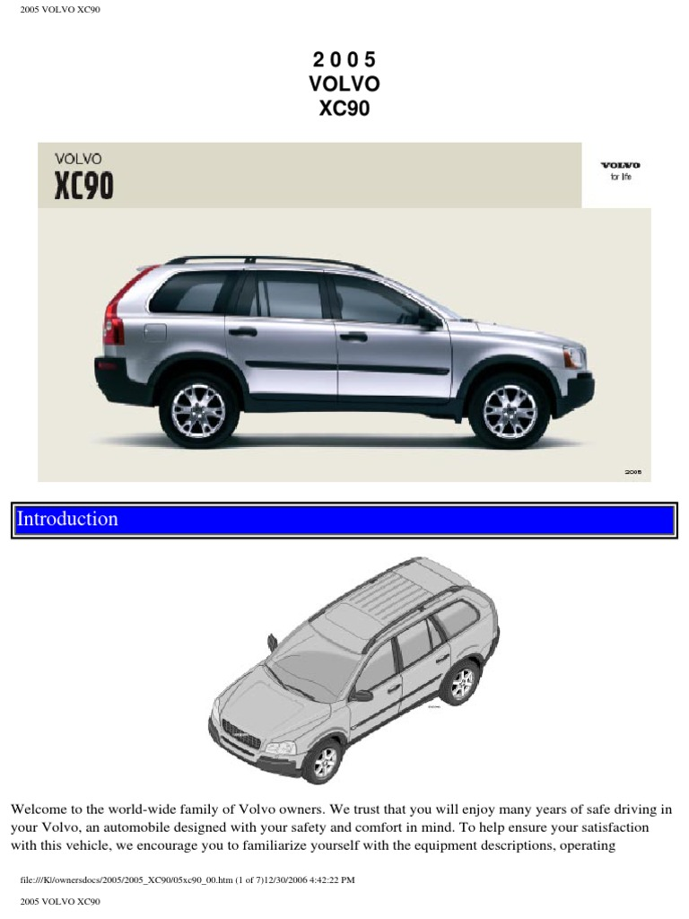 volvo xc90 2005 user manual airbag seat belt rh scribd com volvo xc90 2005 owners manual pdf
