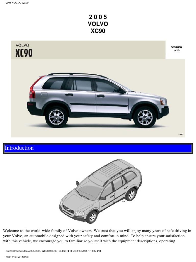 volvo xc90 2005 user manual airbag seat belt rh scribd com 2005 volvo xc90 owners manual pdf 2005 volvo s40 owners manual