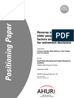 AHURI Positioning Paper No123 Reverse Mortgages and Older People Growth Factors and Implications for Retirement Decisions(1)