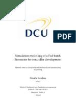 Simulation modelling of a Fed-batch Bioreactor for controller development