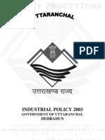Uttarakhand Ind. Policy 2003