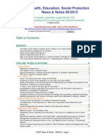 Health, Education, Social Protection News & Notes 06/2012