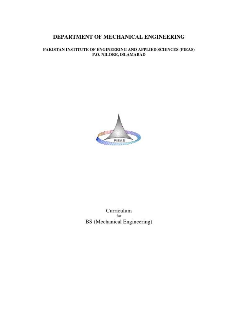 PIEAS (BS Mechanical Curriculum