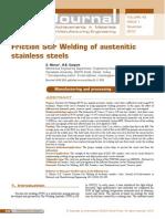 Friction Stir Welding of Austenitic Stainless Steel