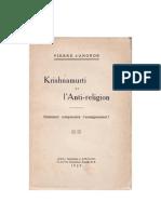 Krishnamurti et l'Anti-religion, par Pierre d'Angkor