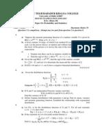 B.Sc. (H) Probability and Statistics 2011-2012