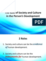 The Role of Society and Culture in the Person's Development