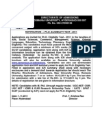 Phd Notification 2011