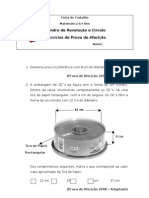 Ficha Mat.6. - Cilindro e Circunferência Exercicios de Prova de Aferição