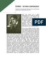 Rudolf Steiner - Ultima Conferenza