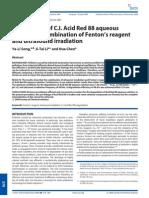 Degradation of C.I. Acid Red 88 Aqueous