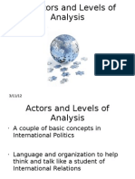 Actors and Levels of Analysis - IR