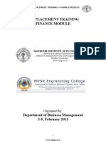 Pre Placement Training Handout Finance