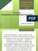 INTRODUÇÃO A UNIVERSIDADE E AO  CURSO