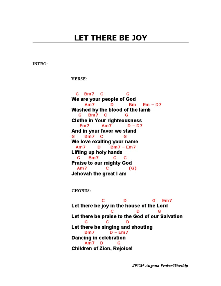 Let there be joy (G)