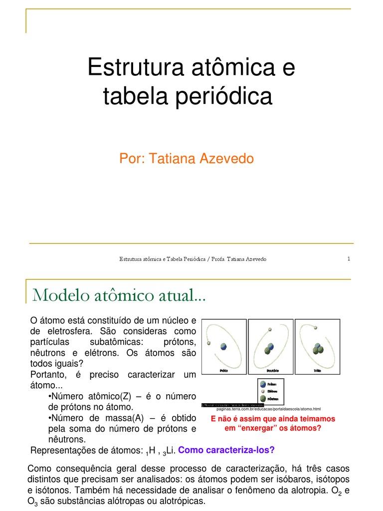 Estrutura Atômica E Tabela Periódica Tabela Periódica átomos