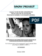 Issues to be raised concerning the situation of stateless Rohingya women in Myanmar (Burma)