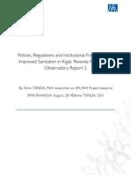 Policies, Regulations and Institutional Framework for Improved Sanitation in Kigali