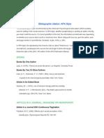 Bibliographic Citation APA Style