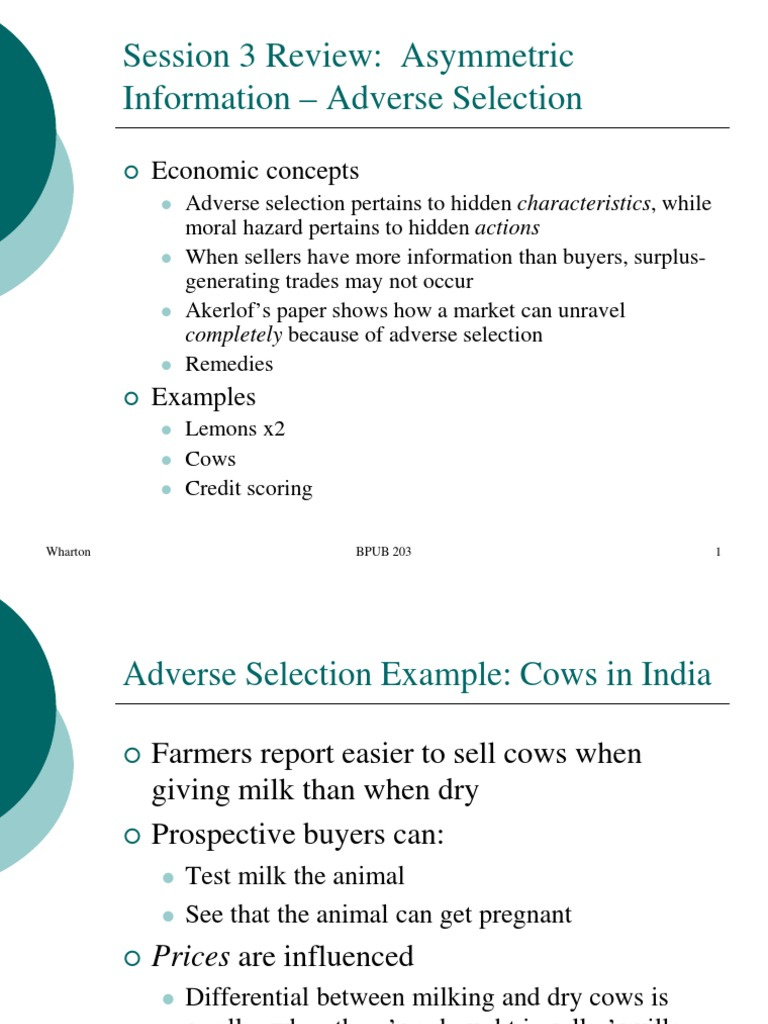 04 Asymmetric Information Moral Hazard Adverse Selection