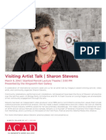 Sharon Stevens Visiting Artist Poster