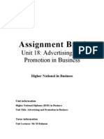 226 Assignment Brief for Advertisement and Promotion in Business -Unit 18 - Adv & Prom in Bus Assignment Brief