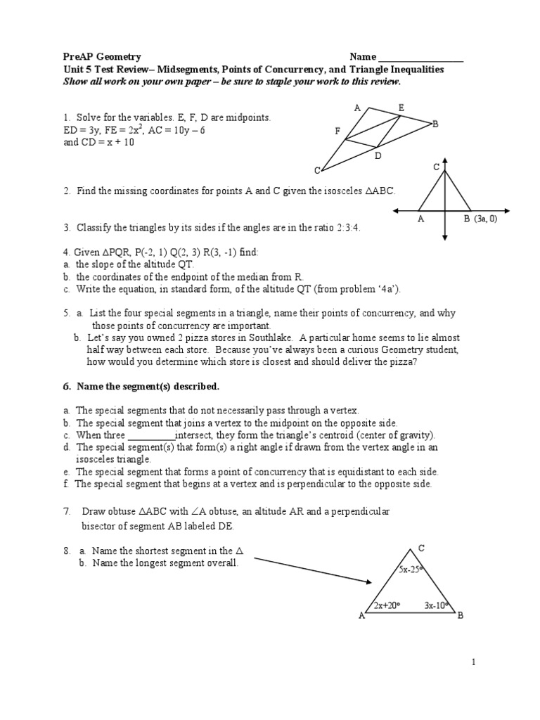 worksheet Special Segments In Triangles Worksheet geom ch5 review triangle convex geometry