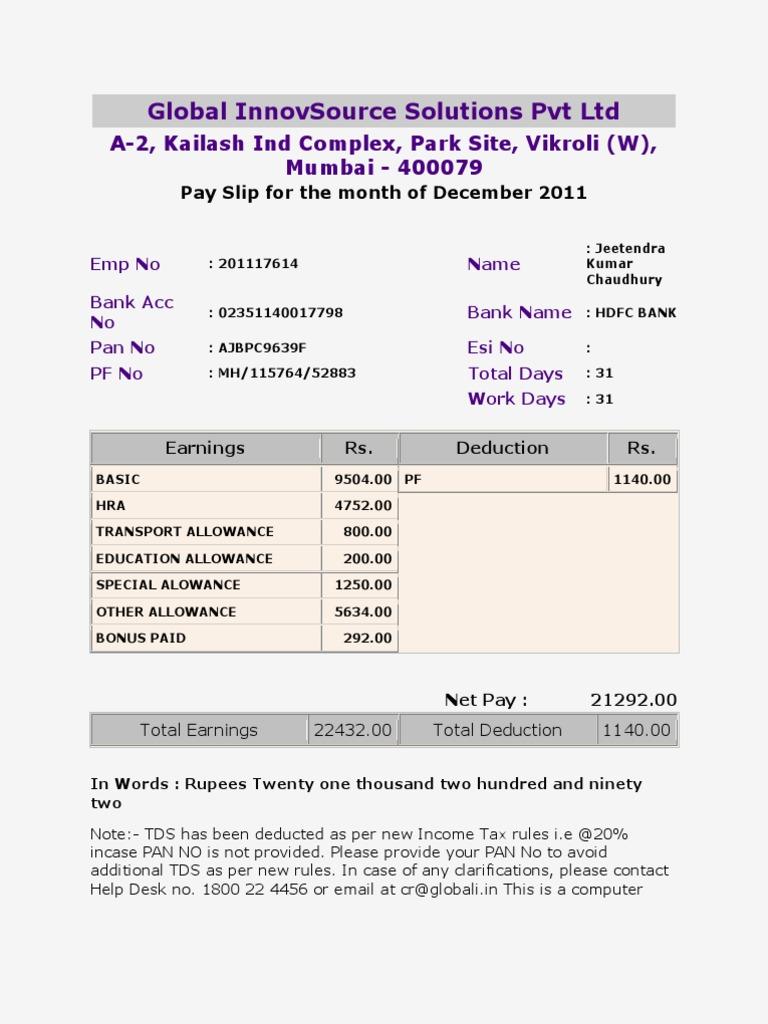 Pay Slip 201117614
