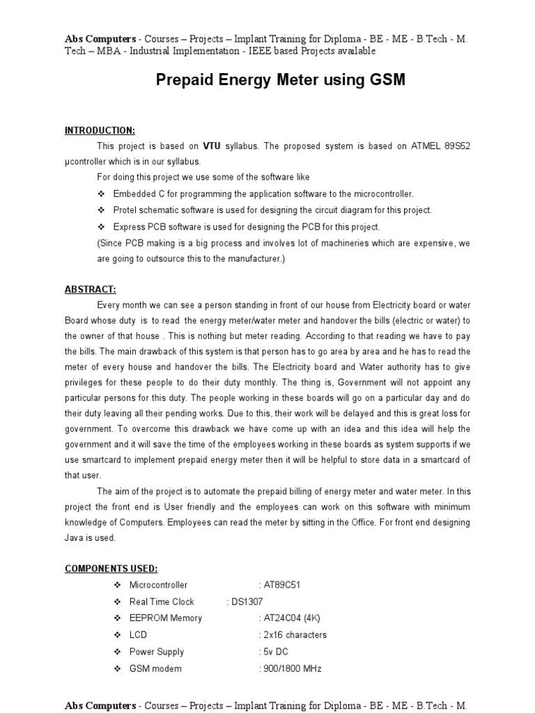 smart card based prepaid-energy-meter - Synopsis - Abs