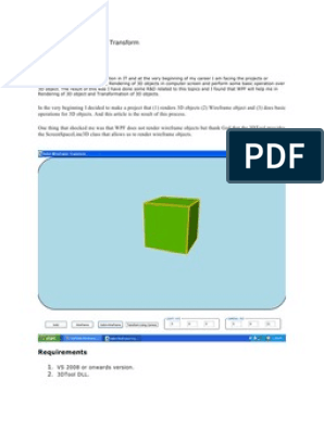 WPF 3D Solid Wireframe Transform | 3 D Computer Graphics | 3