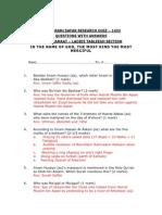 Muharram-safar 1433 Research Quiz _q & A_ Final