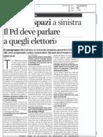 """Grandi spazi a sinistra. Il Pd deve parlare a quegli elettori (""""L'Unità"""", 12-03-2012, pp. 4-5)"""