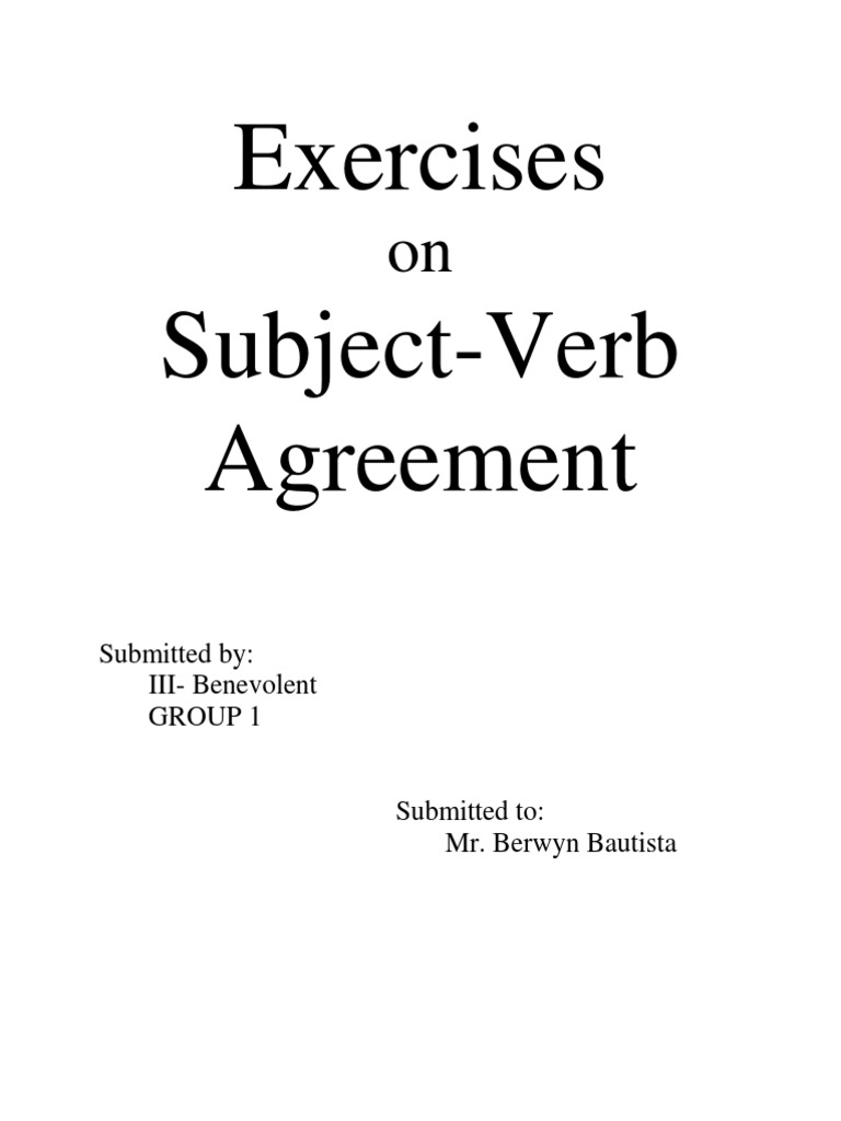 Subject and Verb Agreement Worksheet Grammatical Number – Verb Agreement Worksheet
