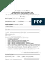 Assessment Psychologist Application Form Doc