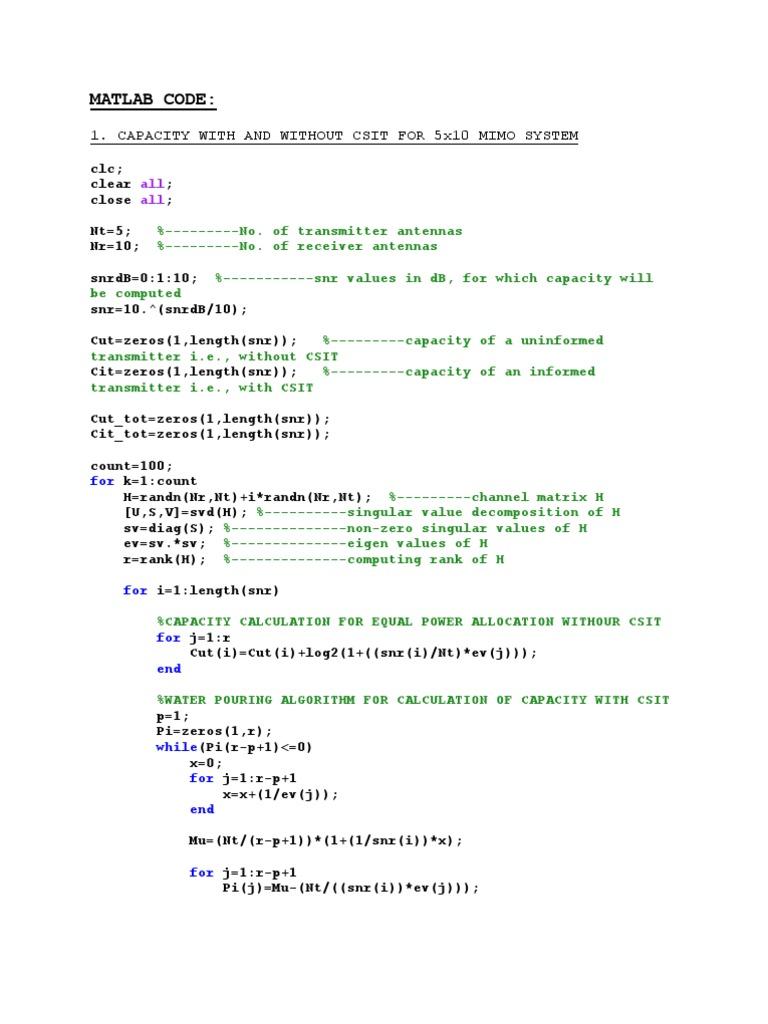 Mimo Matlab Code
