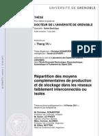 répartition des moyens complémentaires de production et de stockage dans les réseau faiblement interconnectés ou isolés
