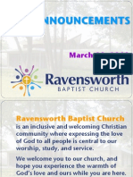Ravensworth Baptist Church Announcements, 3/11/12