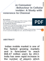 A Study on Consumer Switching Behaviour in Cellular Service Provider a Study With Reference to Chennai