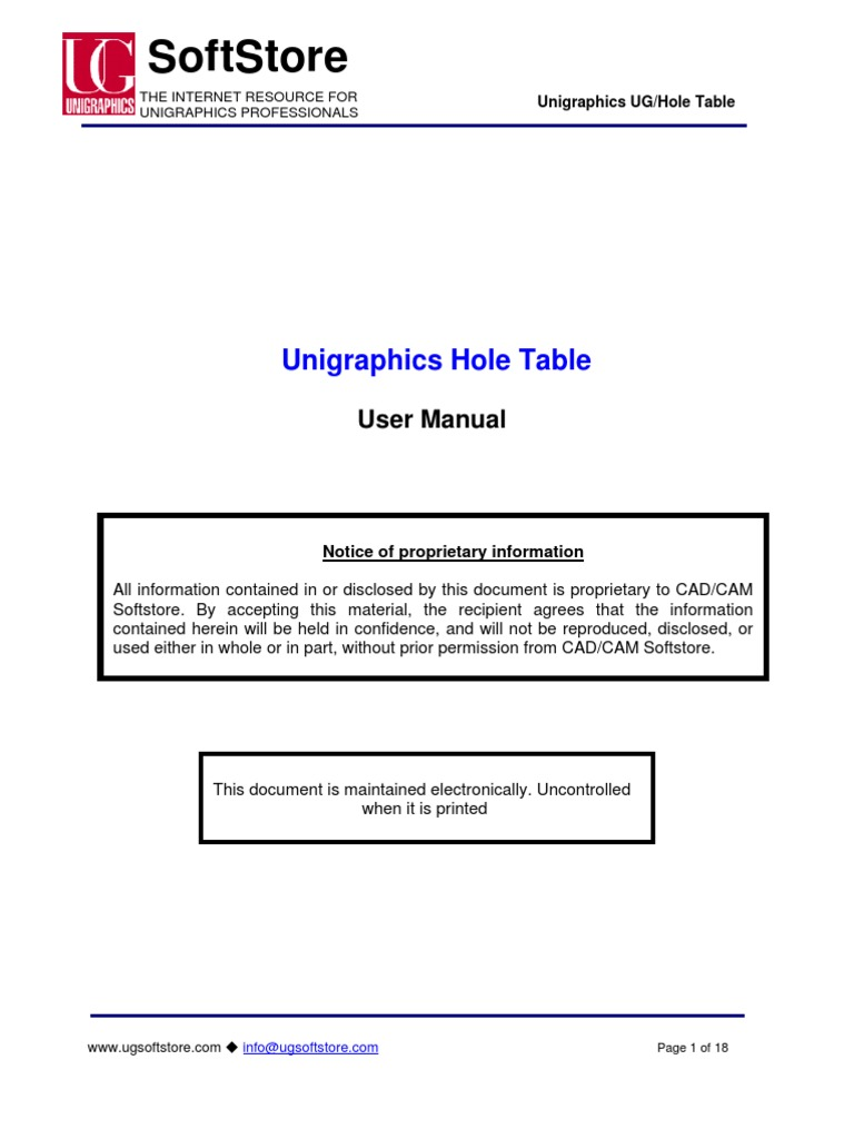 UG HoleTable User Manual V1.1 | Computer Aided Design | Engineering  Tolerance