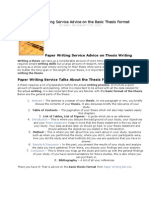 Paper Writing Service Advice on the Basic Thesis Format