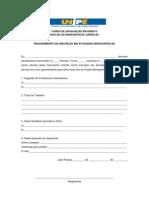 Requerimento de Inscrição Atividades Monográficas