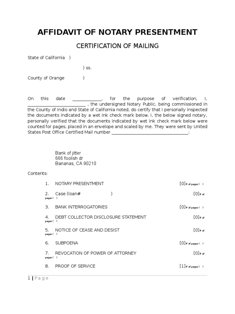 Blank-Affidavit of Notary Presentment Proof of Ser