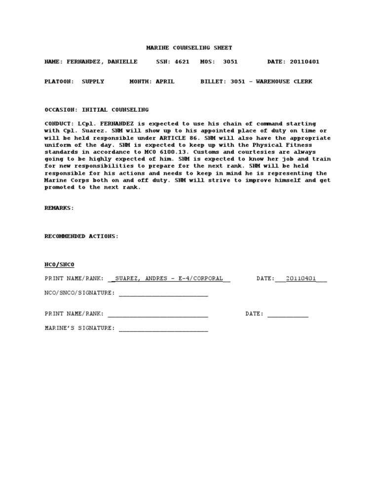 USMC Counseling Outline – Counseling Worksheet Usmc