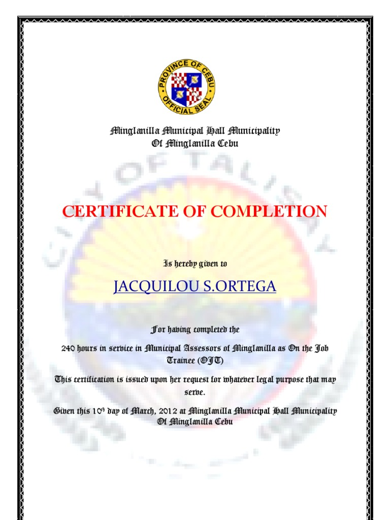 Certificate Of Completion Docojt .  Example Of Certificate Of Completion