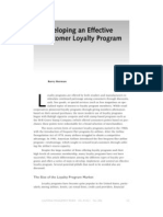 Berman (2006) Developing an Effective Customer Loyalty Program