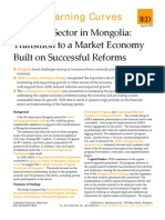 Financial Sector in Mongolia - Transition to a Market Economy Built on Successful Reforms